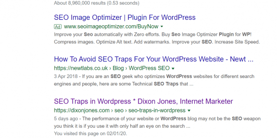 "SERPs for ""WP SEO Traps"""
