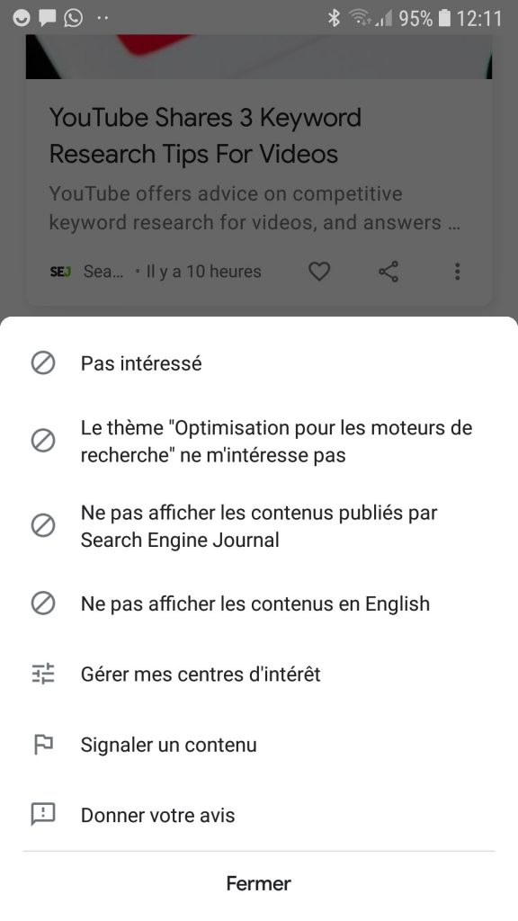 Example of Topic / Entity in Google Discover