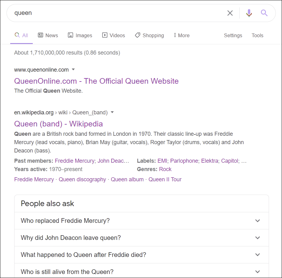 Google SERPs - filtered results for an entity