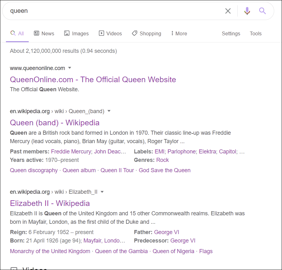 Google SERPs - unfiltered results