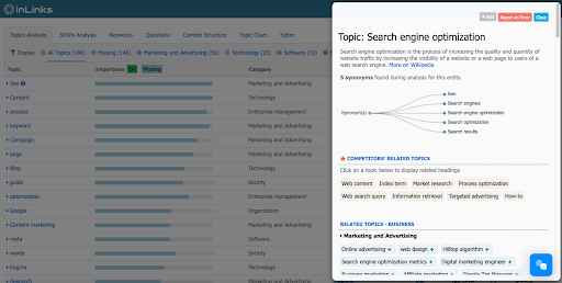 Semantically related topics broken out by industry, which you can click to add to your brief.